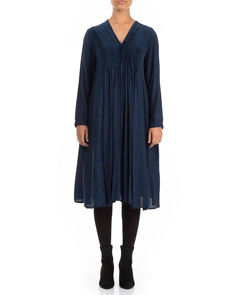 Griza Romantic Silk Bamboo Dress In Navy
