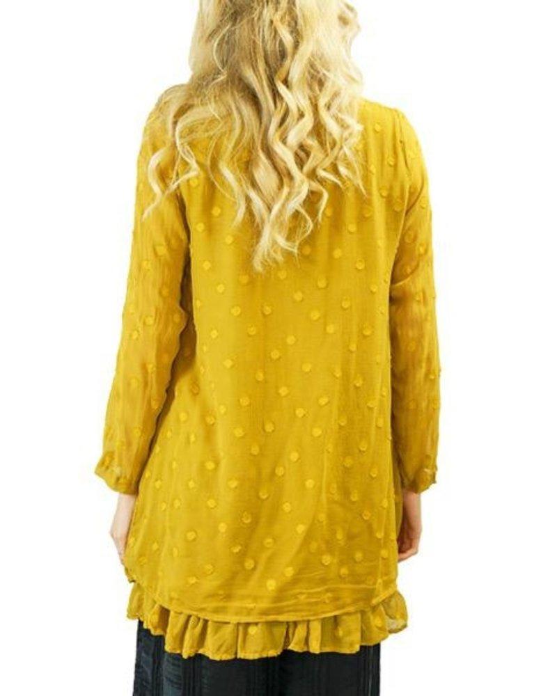 Griza Layered Dotty Silk Blouse In Mustard