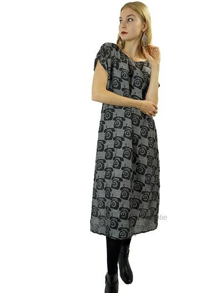Griza Vintage Phone Print Dress In Anthracite