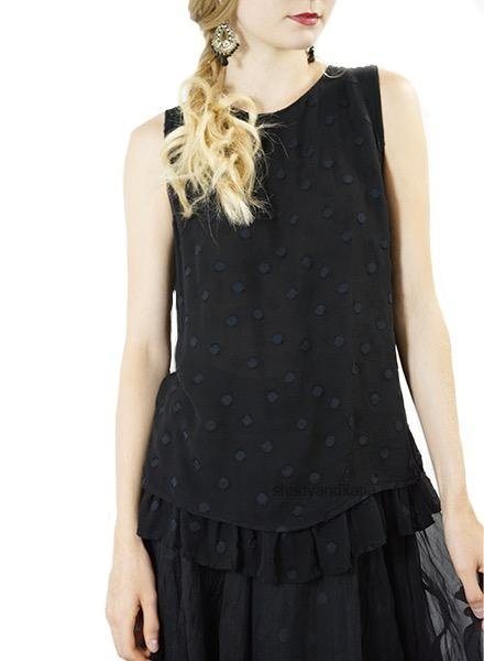 Griza Dotty Sleeveless Tunic In Black