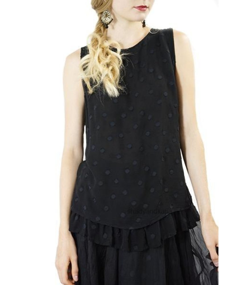 Griza Dotty Sleeveless Tunic In Black