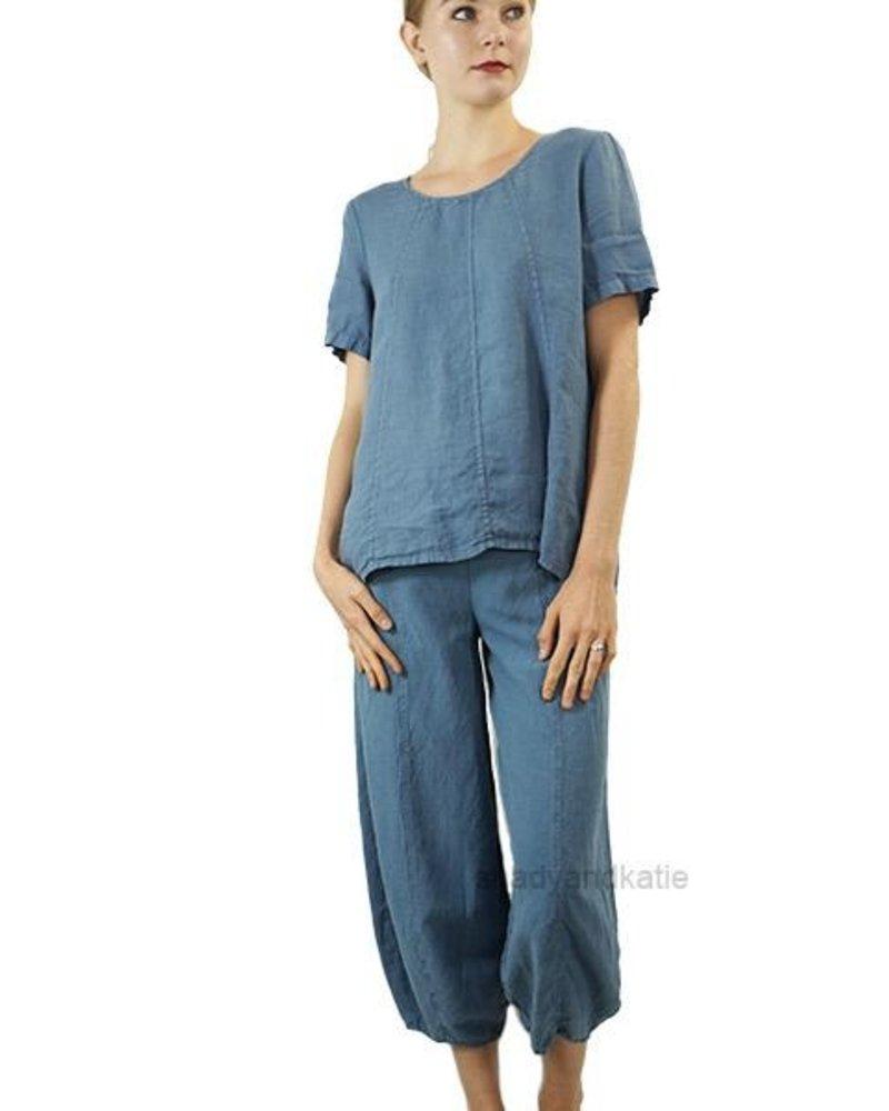 Griza's Short Sleeve Linen Top In Denim Blue