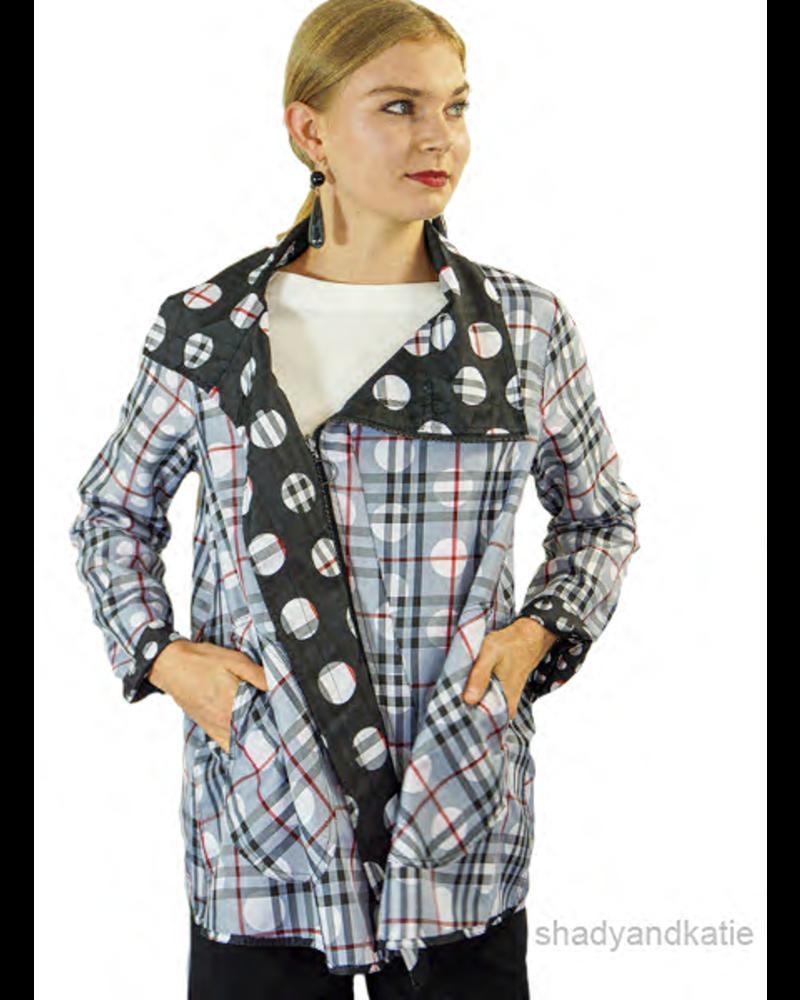 UBU Asymmetrical Reversible Zip Jacket in Polka Dot