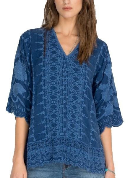 Johnny Was Johnny Was Hakaru Tunic In Dark Blue