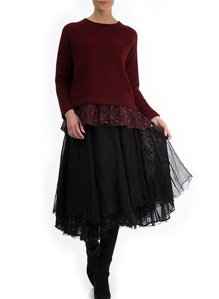 Griza Layered Dot Skirt In Black