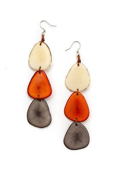 Organic Tagua Tagua Bali Earrings In Orange Combo