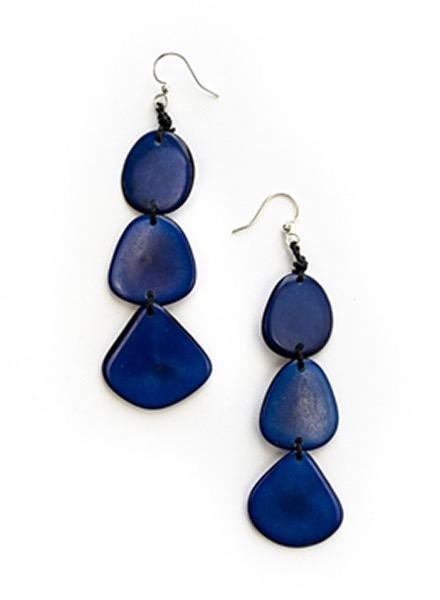 Organic Tagua Tagua Bali Earrings In Royal Blue