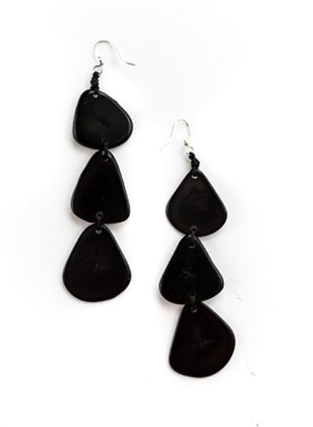 Organic Tagua Tagua Bali Earrings In Black