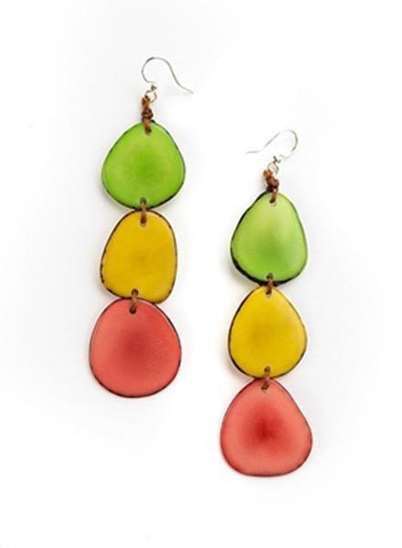 Organic Tagua Tagua Bali Earrings In Spring Combo
