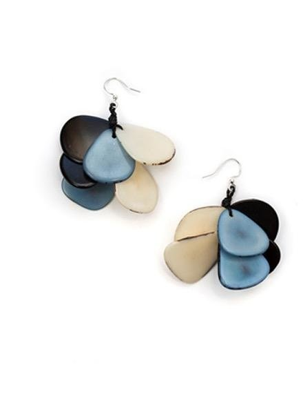 Organic Tagua Tagua Mariposa Earrings In Biscayne Blue Combo