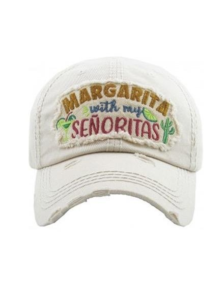 """Margarita With My Senoritas""<br /> Vintage Washed Cap In White"