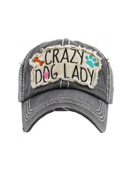 "Mimi Wholesale ""Crazy Dog Lady"" Vintage Wash Black Cap"