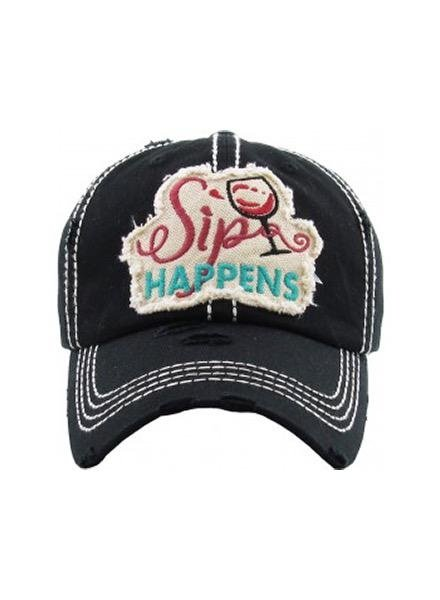 "Mimi Wholesale ""Sip Happens"" Vintage Wash Cap In Black"
