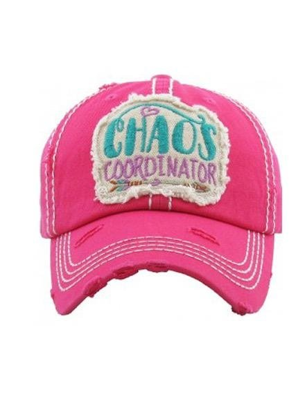 "Mimi Wholesale ""Chaos Coordinator"" Vintage Washed Cap In Hot Pink"