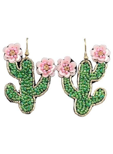 Beaded Pink Cactus Flower Earrings