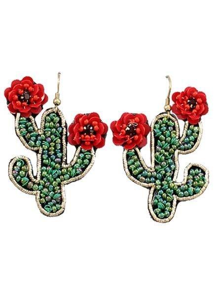 Beaded Red Cactus Flower Earrings