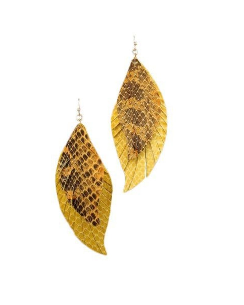 Layered Wavy Leather Feather Earrings In Gold