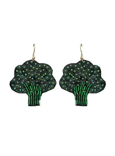 Beaded Broccoli Earrings