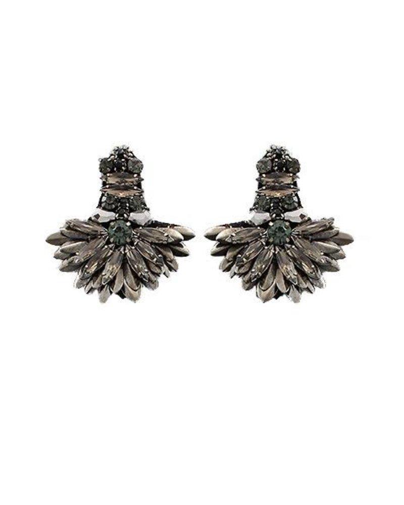 Marquise Bead Fan Earrings In Hemitite