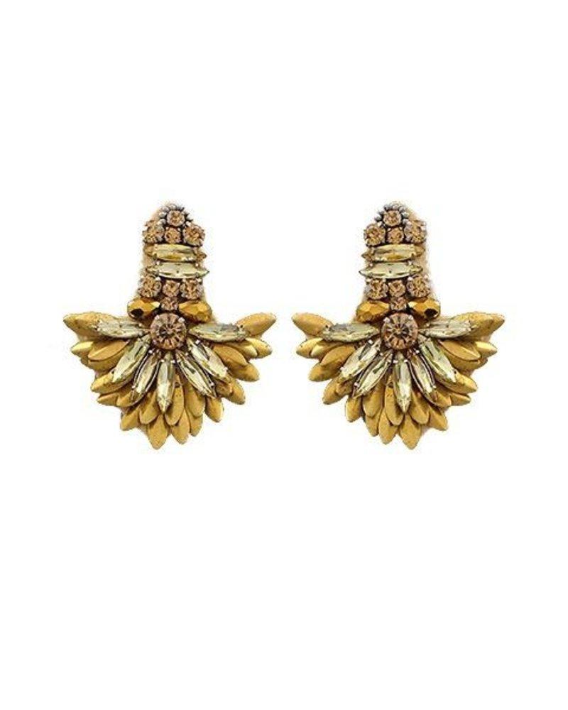 Marquise Bead Fan Earrings In Worn Gold