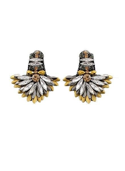 Marquise Bead Fan Earrings In Tritone