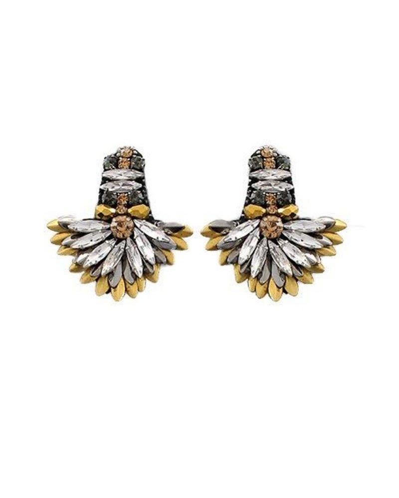 Marquise Bead Fan Earrings In Tritone