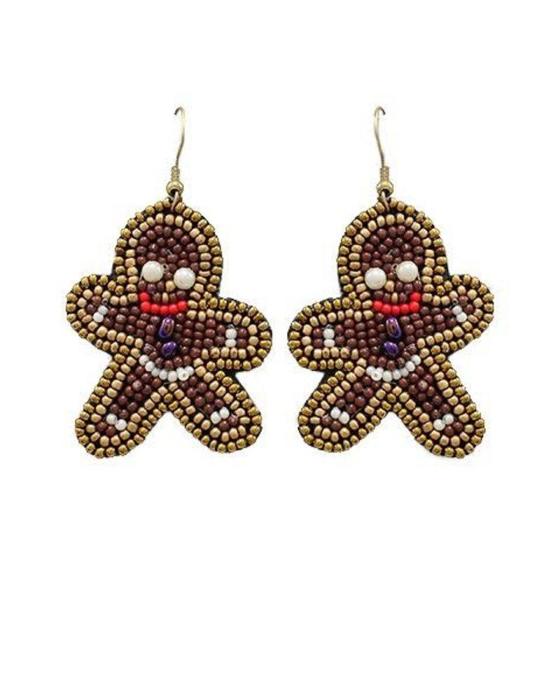Gingerbread Beaded Earrings