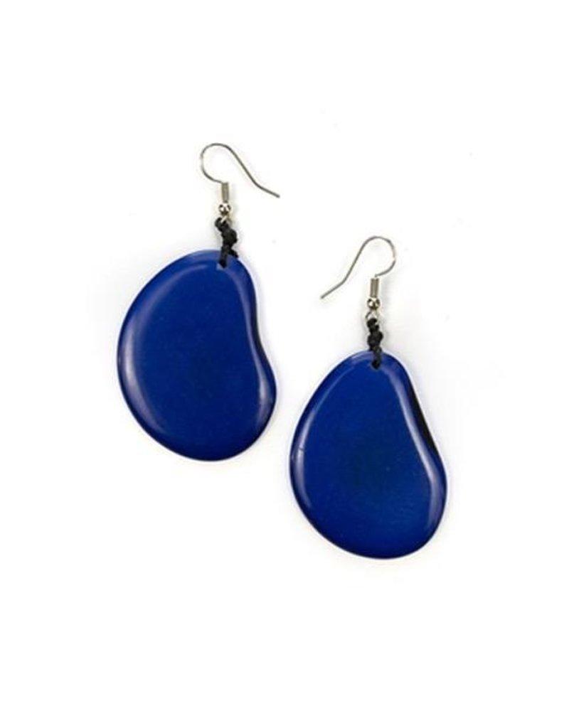 Organic Tagua Tagua Amigas Earrings In Azul