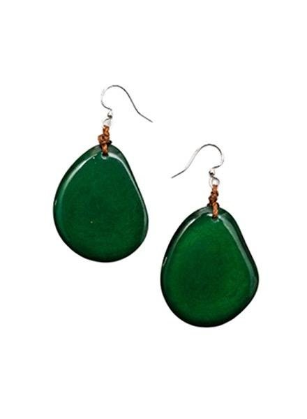 Organic Tagua Tagua Amigas Earrings In Forrest Green