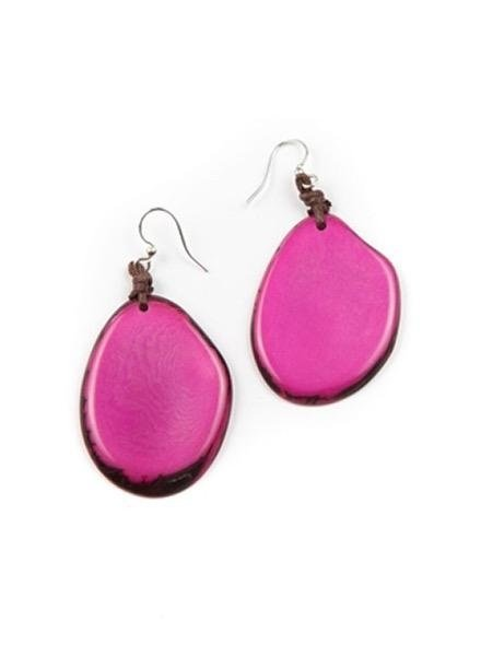 Tagua Amigas Earrings In Fuchsia