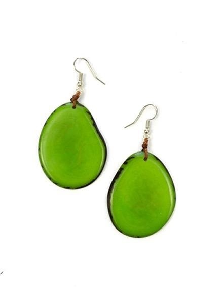 Organic Tagua Tagua Amigas Earrings In Lime