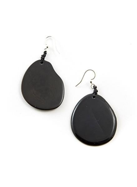 Organic Tagua Tagua Amigas Earrings In Charcoal