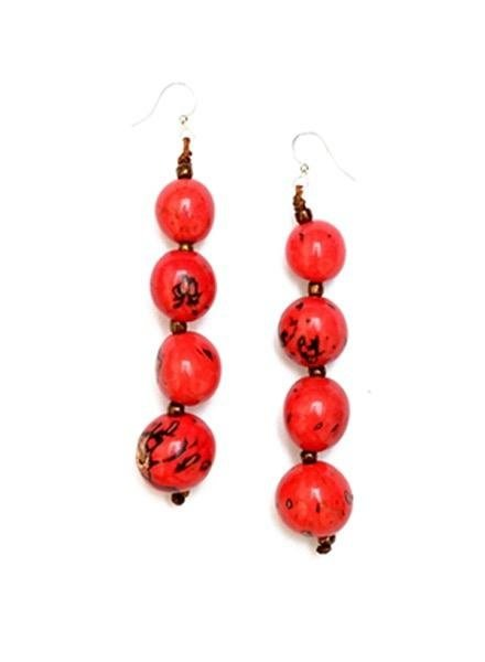 Organic Tagua Tagua Bombom Earrings In Poppi Coral