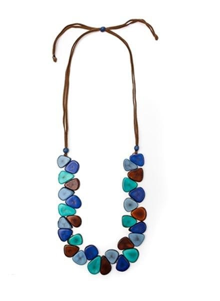 Organic Tagua Tagua Samantha Necklace In BIscayne Bay Blue Combo
