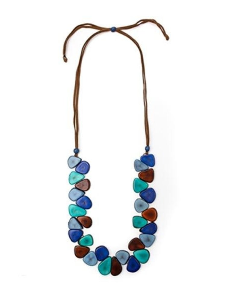 Organic Tagua Tagua Samantha Necklace In BIscayne Bay Blue