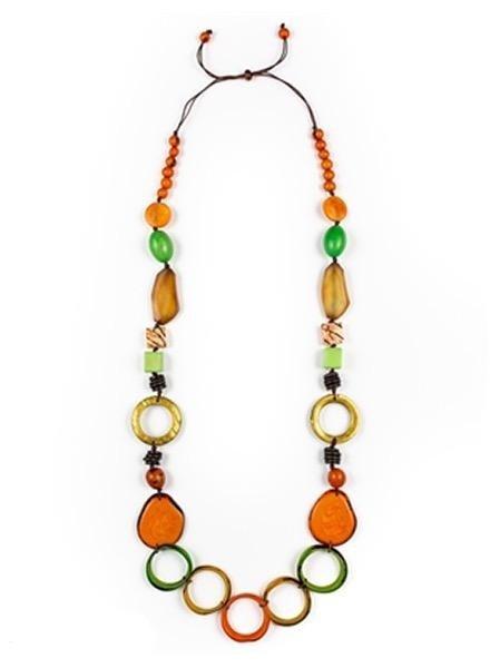 Organic Tagua Tagya Dorado Necklace In Orange Combo
