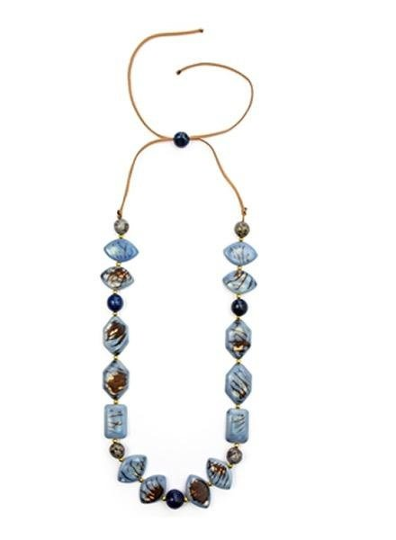 Organic Tagua Tagua Jenn Necklace In Biscayne Blue