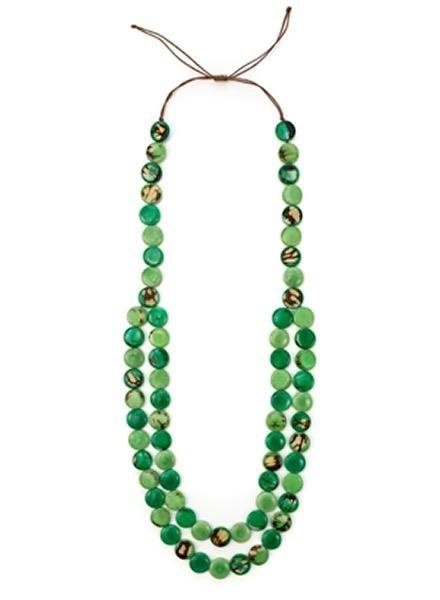 Organic Tagua Tagua Mundo Necklace In Green Combo