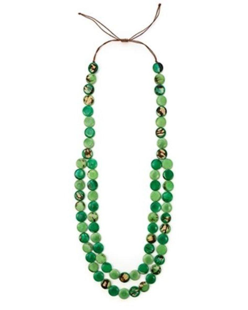 Organic Tagua Tagua Mundo Necklace In Green Combo