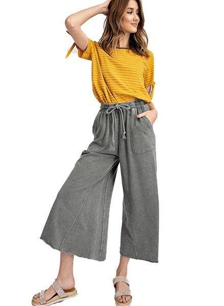 Washed Wide Leg Terry Pant In Ash