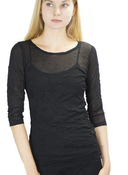 Comfy's 3/4 Sleeve Tee In Black Crinkle Mesh