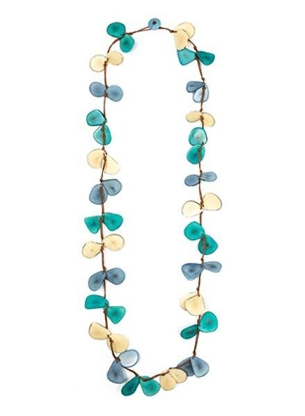 Tagua Slice Necklace In Biscayne, Irory & Turquoise