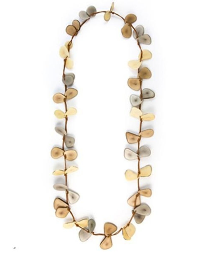 Tagua Slice Necklace In Cafe, Ivory & Charcoal