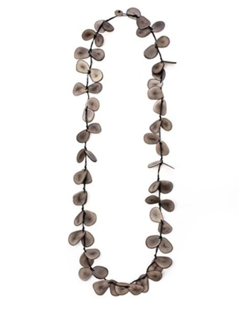Tagua Slice Necklace In Charcoal