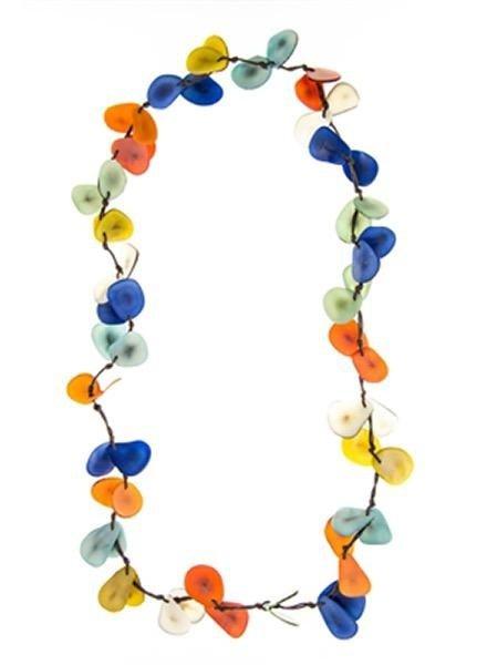 Tagua Slice Necklace In Multi