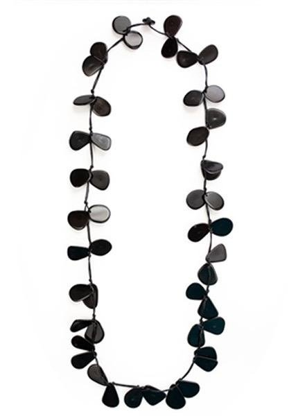 Tagua Slice Necklace In Black