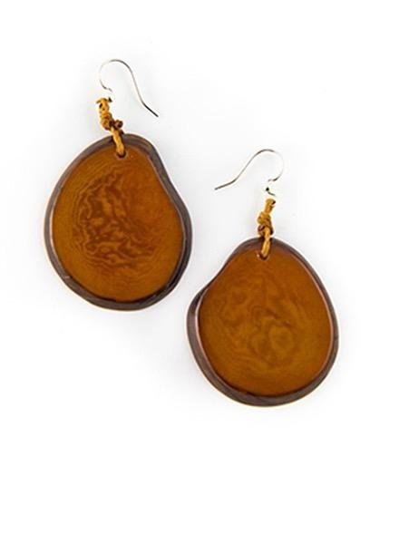 Tagua Amigas Earrings In Chestnut