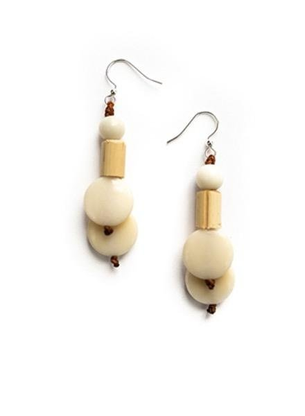 Tagua Bambu Earrings In Ivory