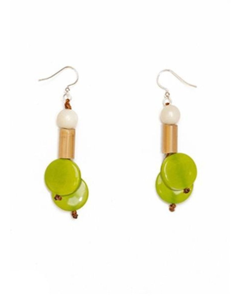 Tagua Bambu Earrings In Lime