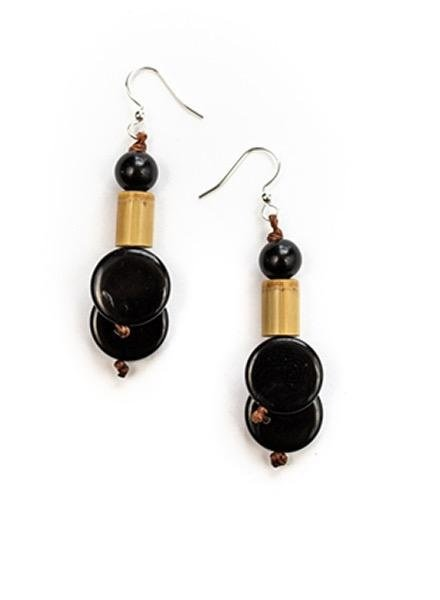 Tagua Bambu Earrings In Black